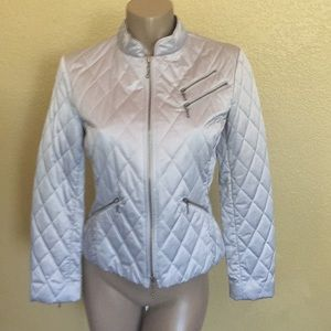 Express Quilted Silver Jacket - Cool Details - M